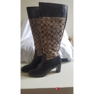 Coach Size 7.5 Brown Signature Boots Heel Leather